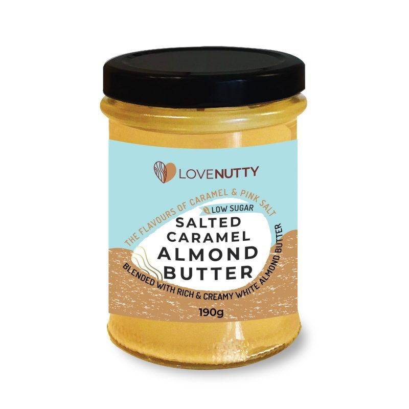 Low Sugar Salted Caramel Amond butter jar